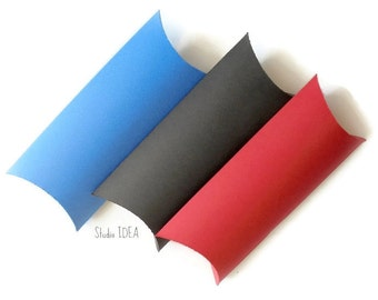 10 Large Pillow Boxes-Candy Box, Favor Box, Gift Box-CHOOSE YOUR COLORS-Set of 10pcs