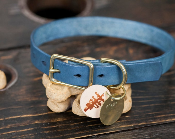 """1"""" Indigo Dyed Leather Dog Collar with Solid Brass Hardware - Custom Made to Order"""