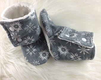 Snowflake Tall Booties, Softsole Booties, Baby Booties , Stay On Booties