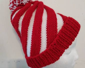 Hand Knitted Infant Swirl hat with pompom, fits newborn to 6 months
