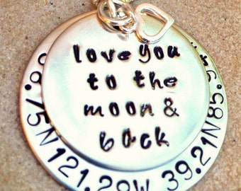 love you to the moon and back, Girlfriend Gift, Birthday Gift,   coordinate necklace, personalized necklace, natashaloha, coorinate
