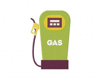 Vintage retro gas pump embroidery design