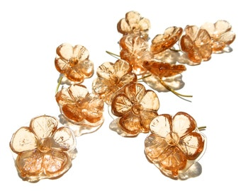 SUPPLY: 12 LARGE Tea Rose Flower Charms - Glass Drops with Brass Wire - Flower Buttons - Un Looped Charms - (4-E1-00003348) OS-4-34
