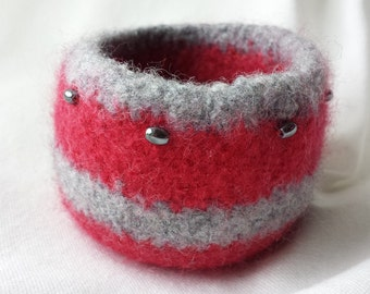 Red and Grey Felted Bowl with Beads