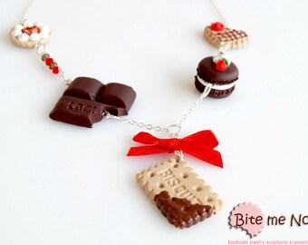 Mini Food Choco-Strawberry Sweets Necklace, Miniature Sweets, Polymer clay Jewelry, Cute Jewelry,Kawaii Jewelry,Food Jewelry