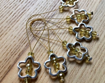 Knitting Stitch Markers, Snag Free Stitch Markers Set of 6, Yellow Crystal, Flower Charm, Knitting Tools, Gift for Knitters, Yarn Lover