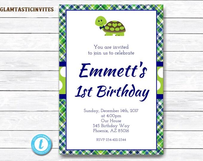 Turtle Birthday Invitation, Birthday Template, Turtle Birthday Invitation Template, You Edit, Printable, Template, Turtle, Boy Birthday