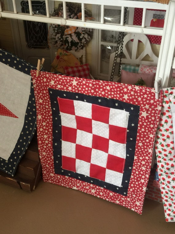 Miniature Red White and blue  quilt