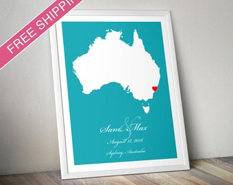 Wedding Gift : Personalized Location Australia Map Art Print - Engagement Gift, Housewarming Gift - Any State or Country Available
