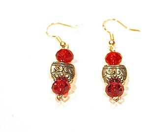 Red Crystal Earrings - Red Crystal earrings - Red dangles - red -  jewelry