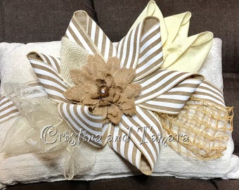 Shabby chic rustic flower pillow