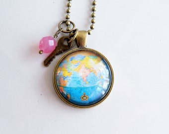 Map of india pendant etsy globe necklace india globe pendant missions jewelry adoption jewelry travel necklace blue globe necklace map travel pendant gumiabroncs Images