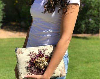 Almeira Handmade Fabric and Crystal Clutch - ChocolateandPearls