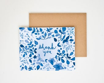 Thank You Cards, Gratitude Wall Art, Blue Painting, Floral Pattern, Flower Girl Gift, Garden Decor, Plant Prints, Succulent, Meera Lee Patel