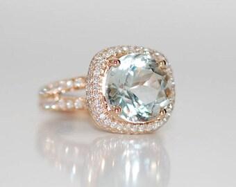 Aquamarine ring. 18k Rose gold Engagement Ring. GIA certified green blue aqua. Cushion engagement ring by Eidelprecious