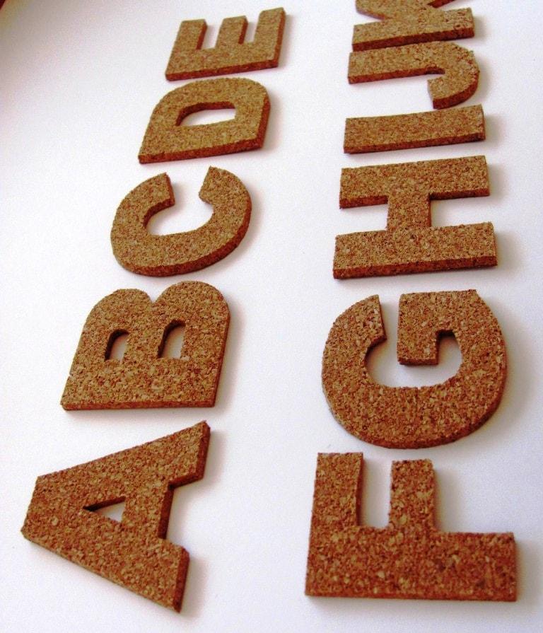 3D cork self-adhesive letters wall decor cork alphabet