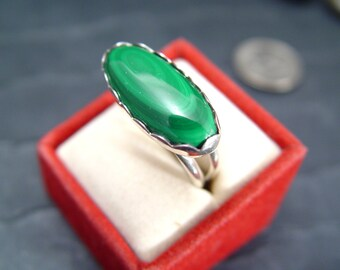 MALACHITE STERLING Silver Ring Trunk Sale Just REDUCED 5.00