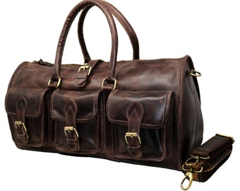 f0f12be7e0 40% Off Personalize Genuine Leather Duffel Bag Vintage Carry On Weekend Bag  Large Duffle Luggage Bag Gym Overnight Travel Bag gift Men Women
