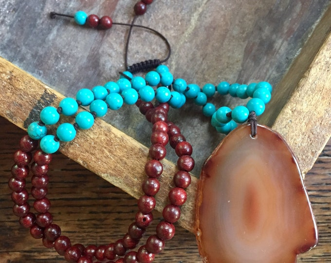 Red Rosewood, Turquoise Howlite + Carnelian Sliced Agate | Hamsa | 108 bead mala | mini 6 mm | Partially Handknotted | Spiritual Junkies