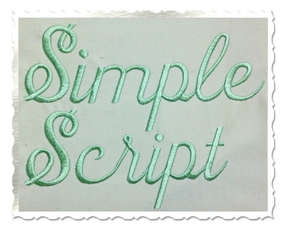 Simple script machine embroidery font alphabet 3 sizes for Embroidery office design version 9
