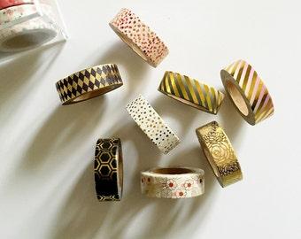 Gold Foil Washi Tape Ombre, Confetti, Rose, Stripes, Geometric, Honeycomb, Floral, Argyle