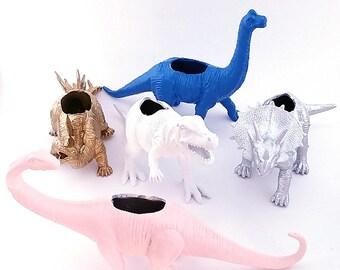 Custom Dinosaur Planter \\ Dino Planter \\ Desk Accessory \\ Dorm \\ Home Decor \\  Gift \\ Office Decor \\ Desk Plant