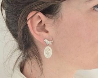 Interchangeable flower and bird earrings in silver/Interchangeable ear for Flower and Bird in silver