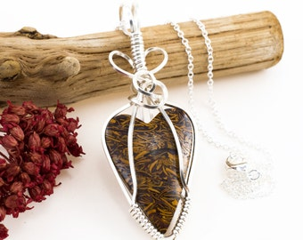 Wire Wrapped Pendant - India Script Stone Pendant - Coquina Jasper Necklace - Wire Wrapped Jewelry - Coquina Script Stone - Jasper Jewelry