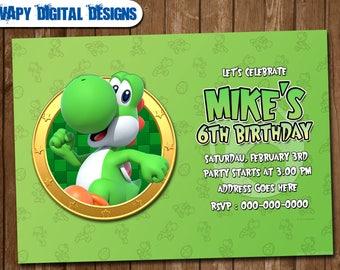 Yoshi birthday card etsy yoshi digital party invitation customize invite birthday thank you card bookmarktalkfo Image collections