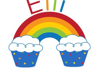 Rainbow & Cupcakes Birthday Bodysuit or Shirt - Personalized with ANY Name