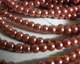 Pink wine 300 4 mm Pearl glass beads-an unusual shade