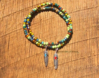 Feather Bracelet festival ready fashion style rustic country girl chic southwestern boho red turquoise rainbow vibrant bright antique silver