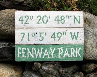 Personalized Longitude Latitude Reclaimed Wood Sign Custom