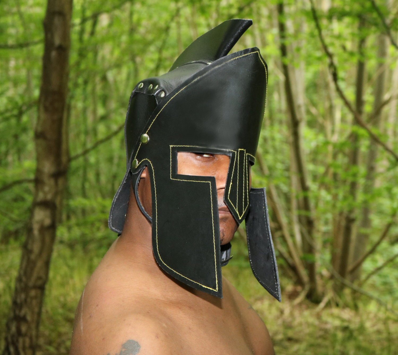 Real Leather Spartan Helmet Roman Armour Fantasy Knight Helmet