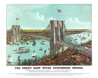 The Great East River suspension bridge: connecting the cities of New York and Brooklyn. view south 1883.  NY0037 Vintage Poster Print Map
