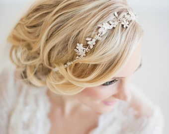 Wedding Hair Vine,  Gold Bridal Headpiece, Bridal Headband, Bridal Hair Vine, Pearl Bridal Headband, Boho Bridal Vine