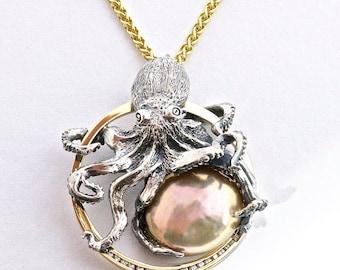 Kraken Octopus Pendant - 18k, sterling and pearl necklace