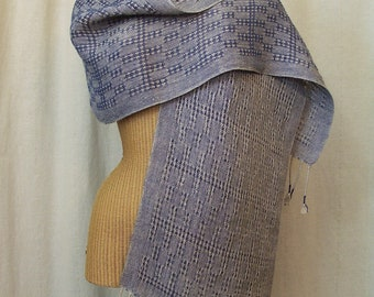Navy Blue Linen Lace Scarf Handwoven Table Runner LS04