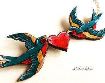 Rockabilly Pin up Love Birds Swallows Sailor Tattoo Inspired Necklace, Rockabella Double Swallows Retro Style Necklace by Milushka