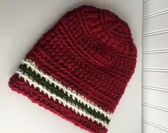 Red Beanie Cap / Red Green White Hat / Football Hat / Crochet Hat Women / Modern Clothes / Indie Clothes / Slouchy Hat
