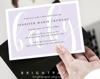 Modern Baby Shower Invitation Baby Girl Baby Boy Shower Invite Card Template Digital Printable BA026