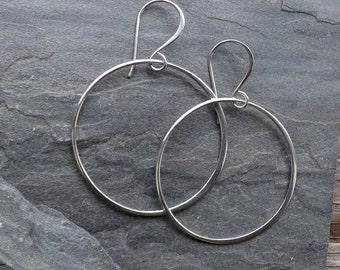 Extra Large sterling hoop earrings / Sterling silver circle earrings / Extra Large dangle hoop earrings
