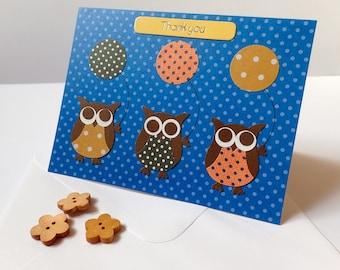 Thank You Card - Handmade Greeting Card - Owl Thank You Card - HandmadeThank you Card - Owl Greeting Card - Handmade Owl Card -Owl Card