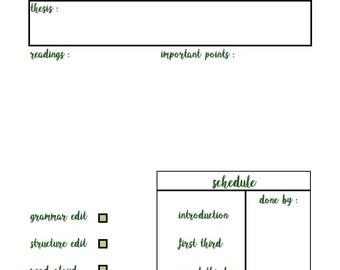 BULLET JOURNAL: Simple Essay Plan in Green