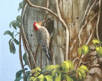 "WOODPECKER print by RUSTY RUST 11"" x 17"" heavy paper, 11"" x 12.75"" a  ppx. image size / W-46-P"
