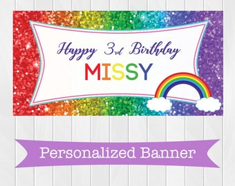 "18""x36"" Rainbow Glitter Personalized Party Banner 