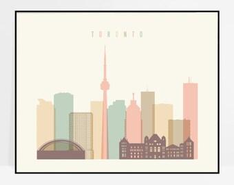 Toronto art, Toronto print, Toronto poster, Toronto skyline wall art, Canada cityscape, City print, Home Decor, ArtPrintsVicky