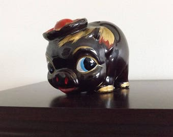 Redware Pottery Piggy Bank, Vintage Japan Red Clay Pottery Pig Bank