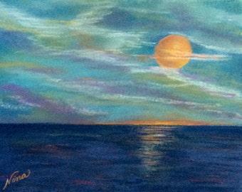 "Pastel drawing sunrise sunset sand beach art 9""x12"""