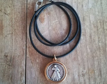 Divine mercy / Virgin Mary necklace, catholic necklace, confirmation gift, saints necklace, first communion gift, boys girls catholic gift
